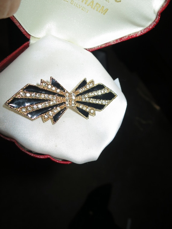 Wonderful vintage gold metal rhinestone black enamel deco design brooch