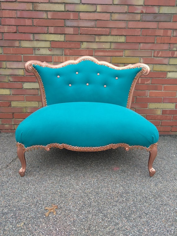 Turquoise and Copper Settee