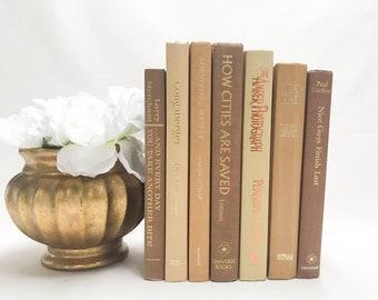 Light Brown Decorative Books for Shelf Decor, Book Collection