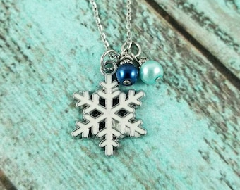 Snowflake necklace, winter necklace, snowflake jewelry, winter jewelry, under 25, gift for her, winter birthday necklace, winter holiday
