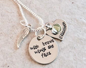 With brave wings she flies personalized necklace memorial jewelry remembrance jewelry loss of loved one loss of pet loss of pregnancy