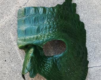 Leather Mardi Gras Masquerade Mask, Phantom Of the Opera, Costume Cosplay, Faux Gator Skin Mask
