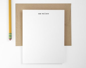 Custom Letterpress Note Cards - Typewriter Personalized Flat Stationery - Editor Set