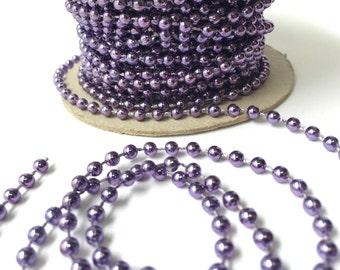 4 Yards Metallic Purple Faux Pearl Trim Bead Accent for Crafting, Scrapbooking, Decoration