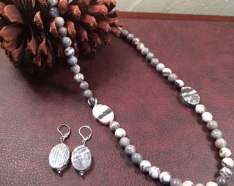 Pink Jasper and Zebra Stone Necklace and Earrings Set