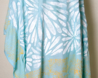 Cloud Nine Sky blue Handmade boho hippy hippie artsy dress Indian poncho hand india print Top Shirt yoga Tunic plus size 2x xxl xxxl 3x 4x