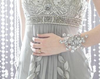 Wedding Corsage - Bridesmaid Corsage - Wrist Corsage, Silver Corsage, Prom Dress Accessory, Flower Corsage
