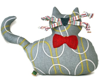 """Extra Durable Dog Toy - Large Grey Fat Cat """"DOUBLE FABRIC LAYER Construction"""""""