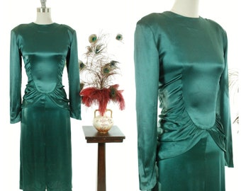 Vintage 1940s Dress - Rare GREEN 40s Exqusitely Draped Lustrous Rayon Charmeuse Satin Cocktail Dress with Ruched Peplum