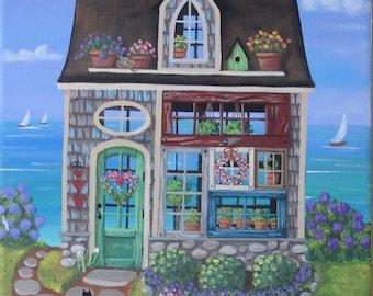 Garden Heart Greenhouse ORIGINAL Folk Art Painting FREE Shipping