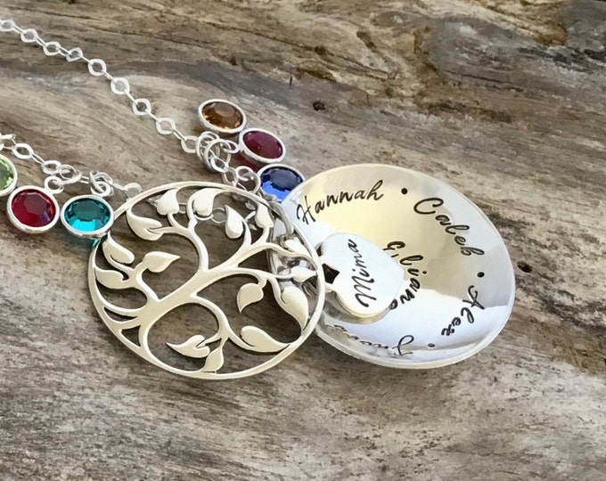 Mom Necklace | Personalized Family Birthstone Necklace | Tree Necklace | Birthstone Tree Necklace Mother | Grandma Necklace |Gift For Mother