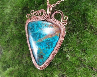Chrysocolla Pendant, Chrysocolla Necklace, Chrysocolla Jewelry, Copper Wire Pendant, Blue Necklace, Blue Gemstone Necklace, Ocean Necklace
