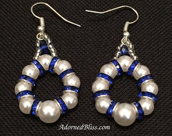 Pearl Cobalt Earrings / White Pearl Earrings / Cobalt Blue / Women's Gift Ideas / Rhinestone Jewelry / Blue Earrings / Bridal Jewelry / Blue