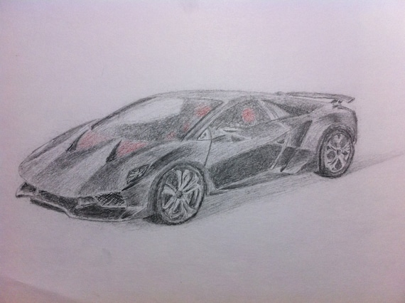 Items Similar To Sesto Elemento   Color Pencil Drawing Of A Lamborghini  Sesto Elemento. On Etsy