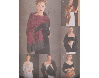 Vogue Evening Shawls Sewing Pattern 9892 One Size Uncut 1990s Accessories Pattern for 6 Shawls