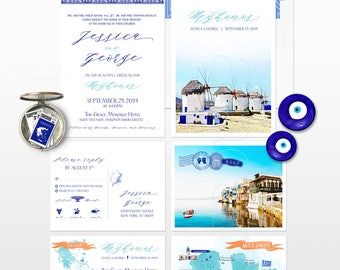 Mykonos Greece Destination wedding invitation Greek Island European wedding map watercolor Illustrated invitation blue Deposit Payment