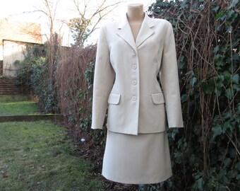 Skirt Suit  / Skirt Suit Vintage / 2 PC Skirt Suit / Size EUR44 / UK16 / Two Piece / Ivory / Beige