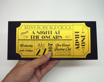 Old Hollywood, Art Deco, Red Carpet, Gold Movie Ticket Prom Invitation