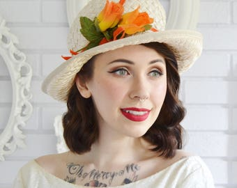 Vintage 1960s Cream Raffia Hat with Orange Ribbon and Fabric Flowers by Michelle
