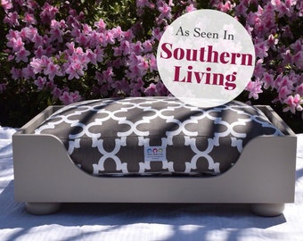 Wooden Dog Bed As seen in Southern Living Magazine || Designer Custom Wood Bed || Medium Small || Hand Made  in NC  by Three Spoiled Dogs
