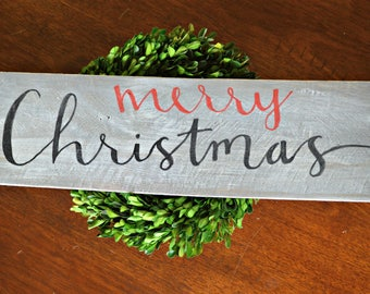 Red Merry Christmas wood wall sign, holiday wall decor