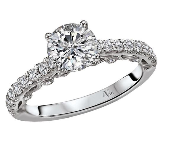 Diamond Engagement Ring Setting Semi-Mount Mounting set in 14K White Gold