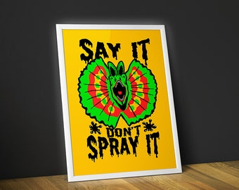 Dilophosaurus Poster - Jurassic Park Spitter Art Print - Say It Don't Spray It Wall Art - Dinosaur Illustration Yellow Jurassic World Print