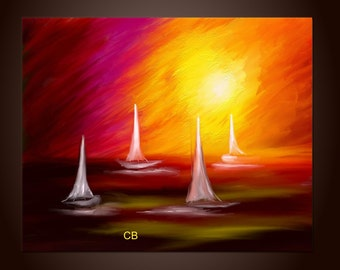 Abstract landscape seascape painting print- Sail Away. Free Shipping inside US
