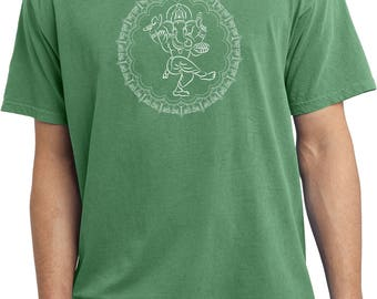 Yoga Clothing For You Mens Shirt Circle Ganesha White Print Pigment Dyed Tee T-Shirt = PC099-WCIRGANESH