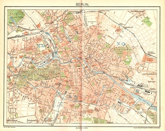 Antique map of Berlin from 1893