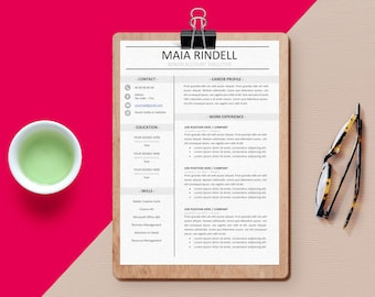 Resume Template / CV Template + Cover Letter | Instant Digital Download