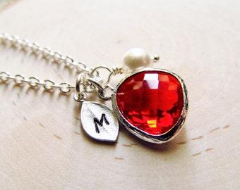 January Birthstone Necklace, Silver Red Garnet Necklace, Personalized Necklace, Birthstone Gift, January Birthday Jewelry, Siam Red Jewel