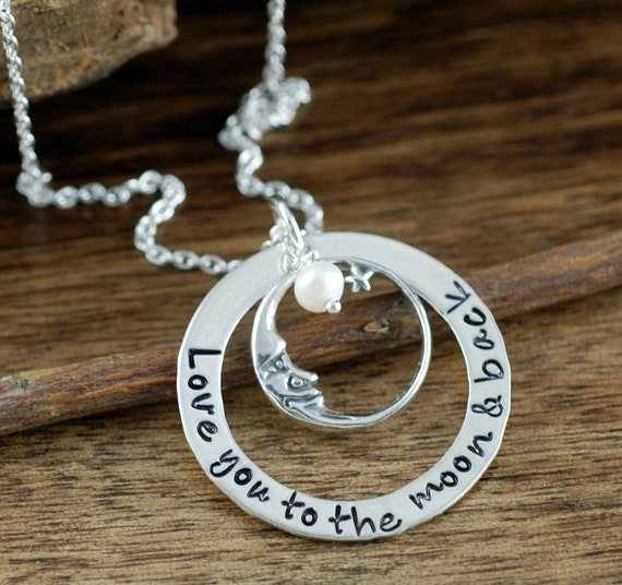 Love you to the Moon and Back Necklace, Personalized Daughter Necklace, Hand Stamped Jewelry,  Mommy Necklace, Gift for Mom