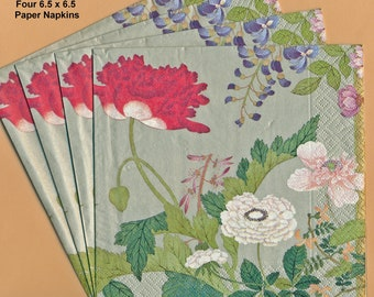 PN048 Paper Napkins by Caspari ~ 6.5 x 6.5 ~ Profusion of Asian Flowers ~ Set of 4