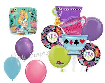 Tea Time Alice Party Balloon Bouquet tea cups Girl Party Tea Party Balloons Wonderland Mat Hatter Tea Party Balloon Package