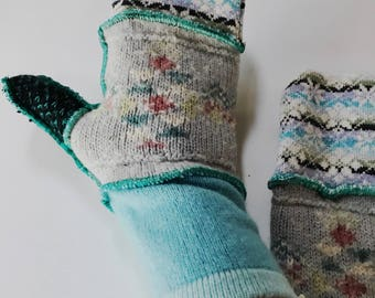 New and Upcycled Recycled Lined sweater mitten gloves in blues and various textures and knit patterns.