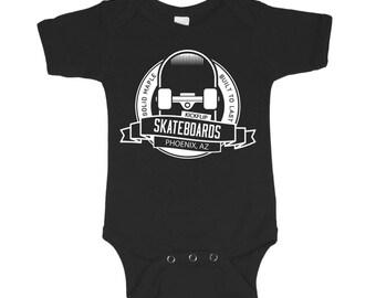 Kickflip Skateboards Black Baby Bodysuit