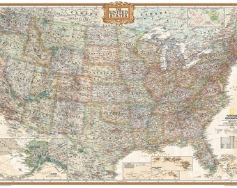 Unframed United States Map by National Geographic Perfect for Tracking Trips #160345