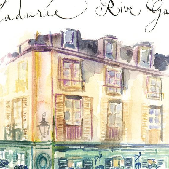 Laduree shop Paris print Watercolor painting Parisian