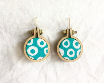 Repurposed Fabric Hoop Earrings. Turquoise. Aqua. Spots. White. Funky. Vermeil gold sterling silver. Recycled. Handmade. Textile art. Dangle