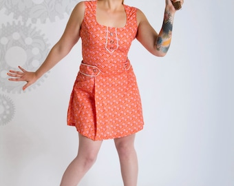 SALE!!! Vintage inspired dress///60s dress///Retro clothing///Orange dress///Woman dress///Women Coton Dress///MAJORETTE Eole///MIMISAN