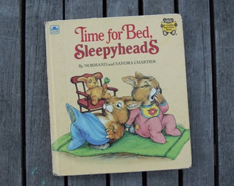 Vintage 1983 Time for Bed, Sleepyheads by Normand Sandra Chartier Hardcover Children's Book Golden Storytime Forest Animals Kids
