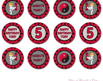 PRINTABLE Personalized Boy Karate Party Circles (Character of your choice) #543