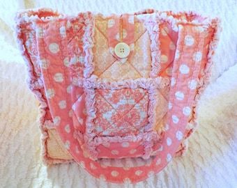 Rag Quilt Tote - Pink Damask and Polka Dot  - Dusty Pink - Melon Pink - Summer Tote - Gift for Her - Mother's Day Gift