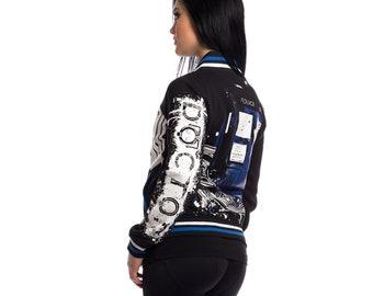 Doctor Who Logo Tardis Street Ladies Urban Varsity Jacket Blue/Black Ladies Geek Jacket BBC TV Show