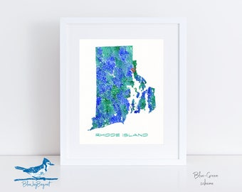 Rhode Island Map - Personalized Rhode Island Gifts - Custom Map Art - Rhode Island Wedding Gifts - Rhode Island Art - State Gifts for Her