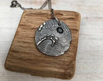 Ocean waves jewelry - nautical pendant -  sterling silver - Sapphire necklace - oxidized pendant