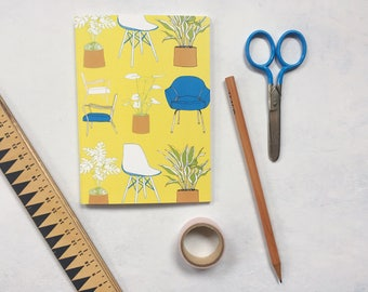 A6 Notebook - Chairs and Plants Yellow