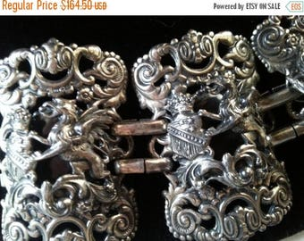 ON SALE Vintage Dragon Bracelet, Napier Gryphon Chunky Bracelet, Renaissance Revival, Gothic Style, 1970s, Collectible Signed Book Piece