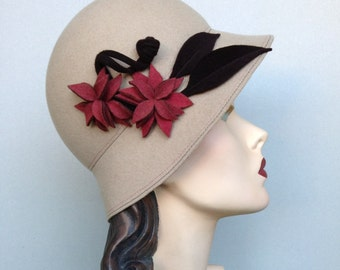 ON SALE:  Ecru/Ivory Wool Cloche with Coral and Brown Flowers and Leaves
